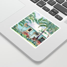 Tropical Vacation Cottage Sticker