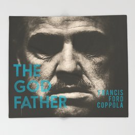 The Godfather, minimalist movie poster, Marlon Brando, Al Pacino, Francis Ford Coppola gangster film Throw Blanket