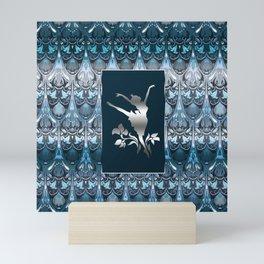 Silver ballerine luxury royal floral blue pattern Mini Art Print