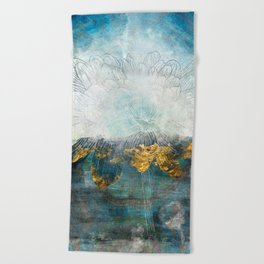 Lapis - Contemporary Abstract Textured Floral Beach Towel