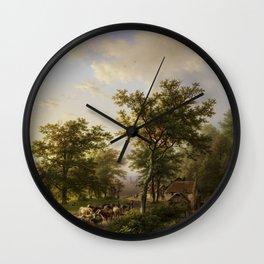 Barend Cornelis Koekkoek - Landschap met watermolen en veedrijvende boeren Wall Clock