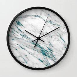 Gray Marble Aqua Teal Metallic Glitter Foil Style Wall Clock