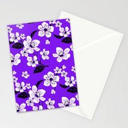 Light Purple & White Sakura Cherry Tree Flower Blooms on Dark Purple - Aloha Hawaiian Floral Pattern Stationery Cards