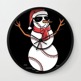 Christmas in July Summer Baseball Snowman Party Gift Wall Clock
