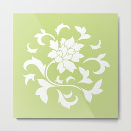 Oriental Flower - Daiquiri Green Circular Pattern Metal Print