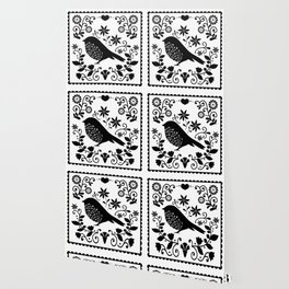 Woodland Folk Black And White Blue Bird Tile Wallpaper