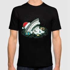 The Santa Shark Black Mens Fitted Tee LARGE