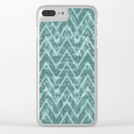 Soft Teal Green Zigzag Chevron Pattern Clear iPhone Case
