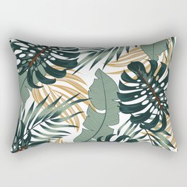 Abstract seamless tropical pattern with bright plants and leaves on a light background. Beautiful print with hand drawn exotic plants. Summer colorful hawaiian. Rectangular Pillow