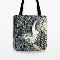 rush Tote Bags featuring Rush by Paper Possible