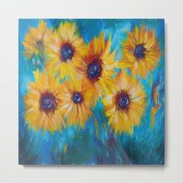 Impressionistic Sunflowers Metal Print