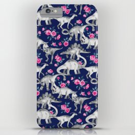 Dinosaurs and Roses on Dark Blue Purple iPhone Case