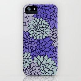 Ultra Violet Periwinkle Gray Dahlias iPhone Case