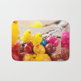Easter eggss and fluffy chickens Bath Mat