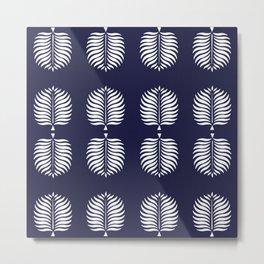 TROPICAL PALMS . BLUE + WHITE Metal Print