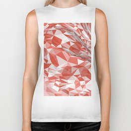 Abstract coral white modern geometrical triangles Biker Tank