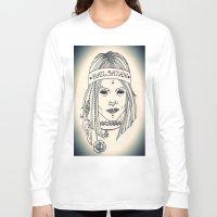 satan Long Sleeve T-shirts featuring Hail Satan! by Swimming Bell