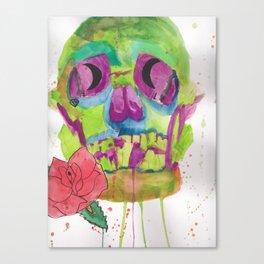 Skull and rose, mixed media Canvas Print