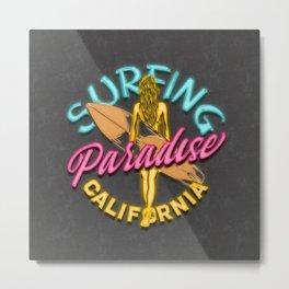 California Surfing Neon Lights Metal Print