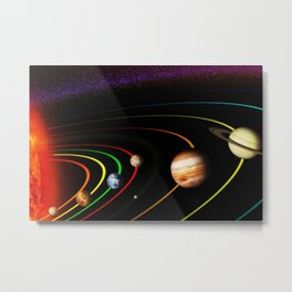 Solar System, the Sun, Planets, & Kuiper Belt by Image Editor Metal Print