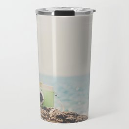 "the ""dreamer"", a mint green camera with the ocean behind it Travel Mug"