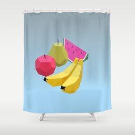 illustrations fruit watermelon bananas pear food Shower Curtain