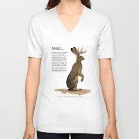 jackalope V-neck T-shirts featuring Jackalope by Jordamn