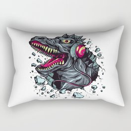 Dino with Headphones Grey Ebony Clay Rectangular Pillow
