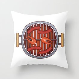 Meat Sizzles on the Bbq Grill Throw Pillow