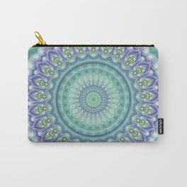 Bright Green and Purple Fractal Kaleidoscope Mandala Carry-All Pouch