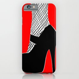 Black heel on red iPhone Case
