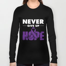 Alzheimers Awareness Shirt Never Give Up Purple Ribbon Gift Long Sleeve T-shirt