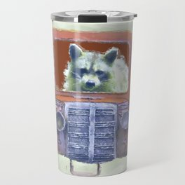 Raccoon Driving Old Red Truck Travel Mug