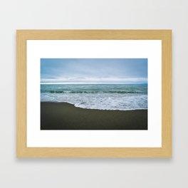 Californian Black Sand Beach Framed Art Print