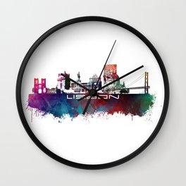Lisbon blue art Wall Clock
