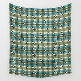 Kereru on green and turquoise plaid Wall Tapestry
