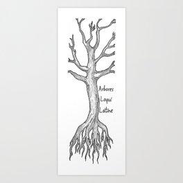 Arbores Loqui Latine Black and White Art Print