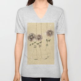 Three Flowers in Vases Abstract Painting   Unisex V-Neck