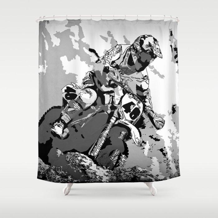 Motocross Dirt Bike Championship Racer Shower Curtain