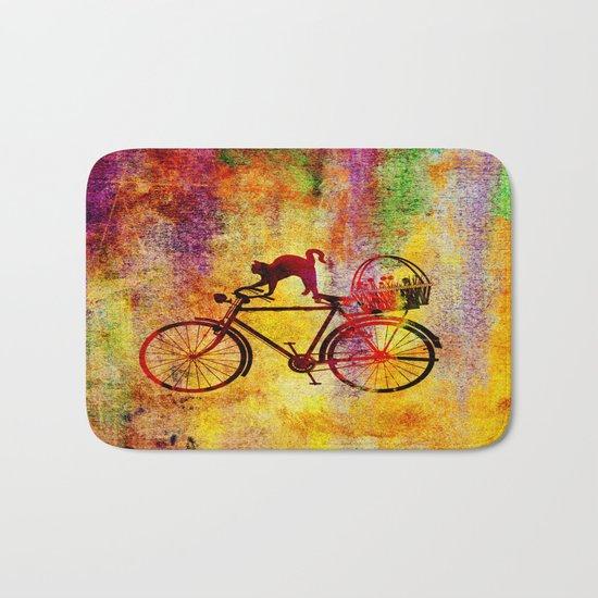 Cat and Bicycle Bath Mat