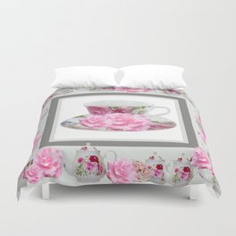 ABSTRACTEd PINK ROSE TEA TIME PORCELAIN ART Duvet Cover