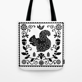 Woodland Folk Black And White Squirrel Tile Tote Bag