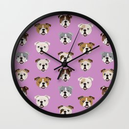 English Bulldog faces cute dog art pet portrait must have gifts for english bulldog owners Wall Clock