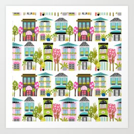 Boutiques and Downtown Buildings by Karen Fields Art Print