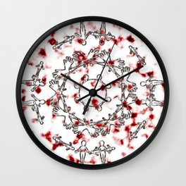 Alien Mandala Silver and Red Plasma Wall Clock