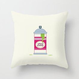 One Can - Pink, Lime Green & Silver Throw Pillow