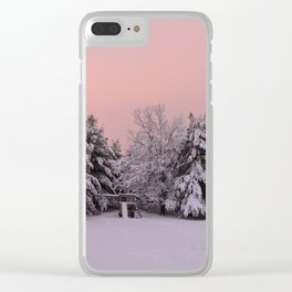 Pink Winter Sky (with swingset) Clear iPhone Case