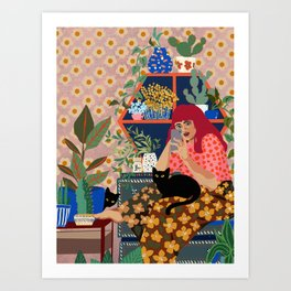 cats & plants stories Art Print