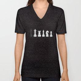 All white one black chess pieces Unisex V-Neck