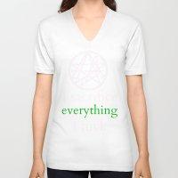 lovecraft V-neck T-shirts featuring Lovecraft Print Sacrifice Necronomicon  by Nikki L.